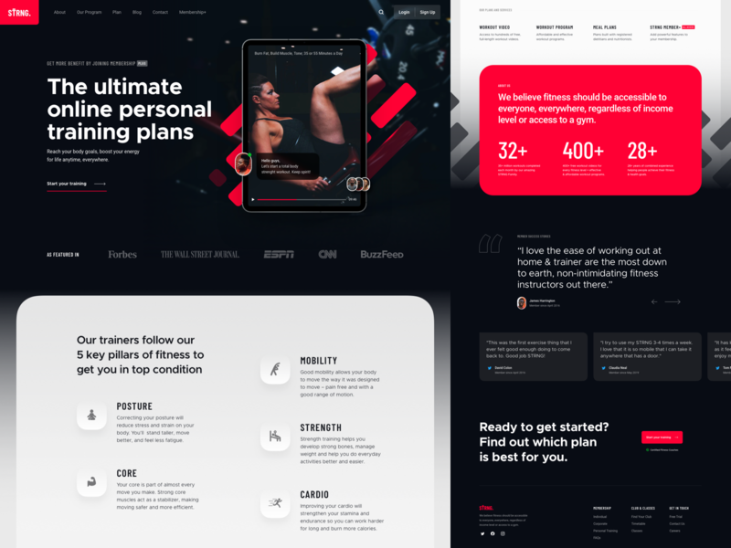 STRNG. - Online Personal Training website online training personal trainer workout gym fitness exploration concept web design landing page website ui