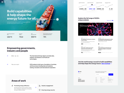 ICCS - Intergovernmental organisation website company experiment government formal fuel energy intergovernmental organisation exploration minimal concept ui clean website