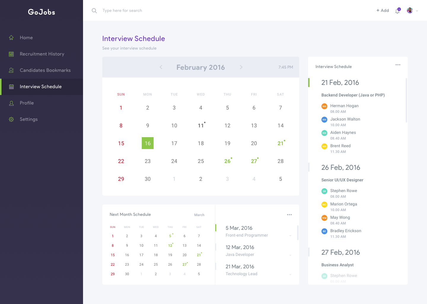 Dashboard company   interview schedule
