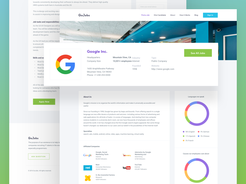 Gojobs - Inner Pages web recruitment job profile find job employee dashboard company charts detail