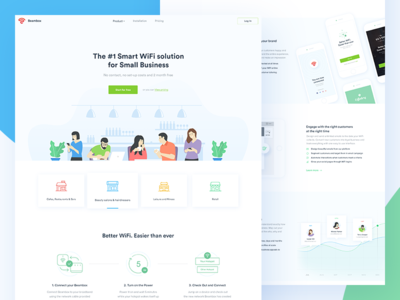 Beambox - Homepage clean illustration wifi smart business homepage ui web design website