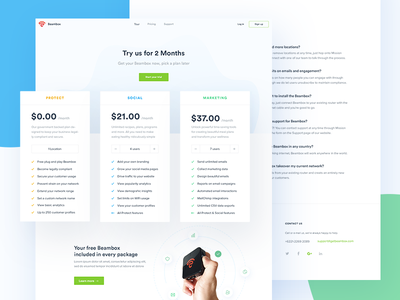 Beambox - Pricing Page faq marketing plan pricing website web design ui business smart wifi clean