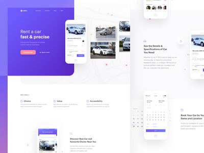 Sebil Car Rental App - Landing page app concept clean mobile ui car rent car rental download landing page website