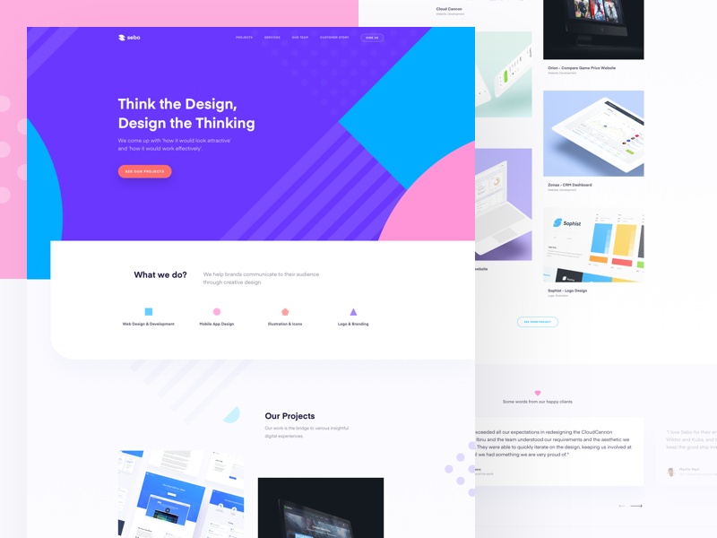 Sebo Studio - Website home page basic shape shape rebranding branding colorful studio website