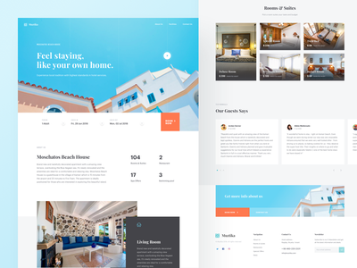 Muztika - Hotel Landing Page travel homestay hotel concept clean minimalist landing page website