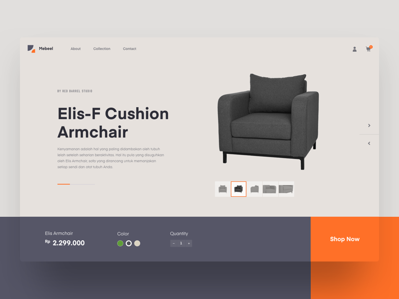 #Exploration | Mebeel - Furniture Website web design furniture mondrianizm header ui minimal website exploration concept clean