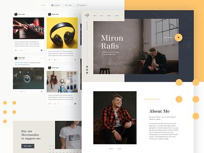 Miron Rafis - Music Artist website amazon music itunes spotify personal website artist music web design ui landing page website