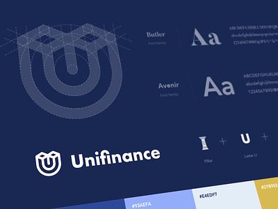 Unifinance - Logo financial services customer bank brand guideline finance branding logogram logo
