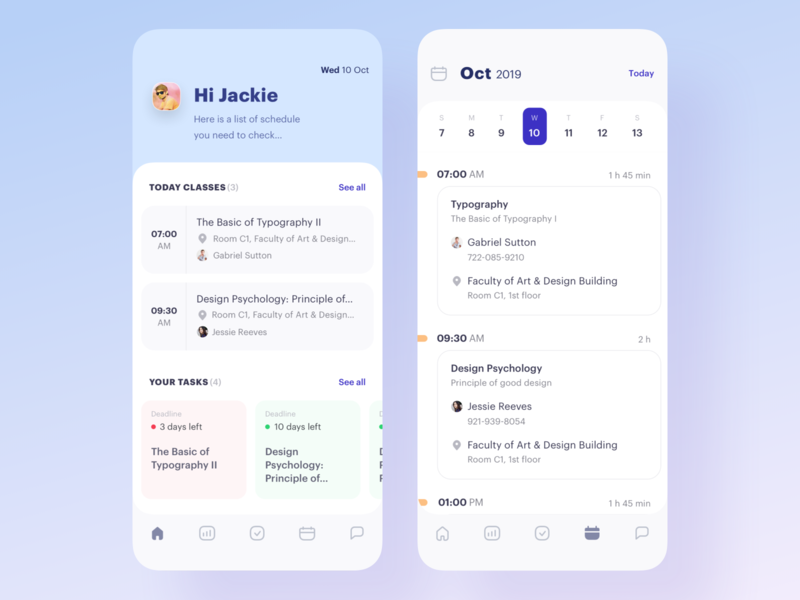School Management App - Exploration class education schedule university school exploration userinterface concept app clean ui