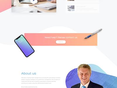 Infocube products office team person stadistics orange blue gradient color web