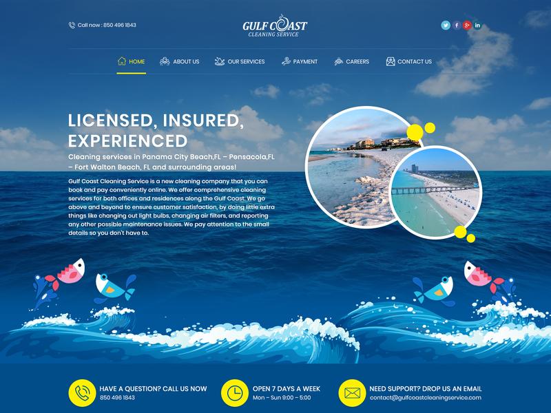 Gulfcoast cleaning service ui logo illustration graphic design ui  ux web design creative design
