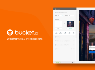 Bucket.io - wireframes & Interactions
