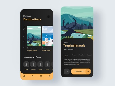 Trip Planner art holiday vacation trip flat colors mobile ios app design ux ui