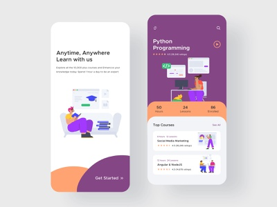 Learning App course learning vector icon ux mobile ios colors flat illustration app design ui