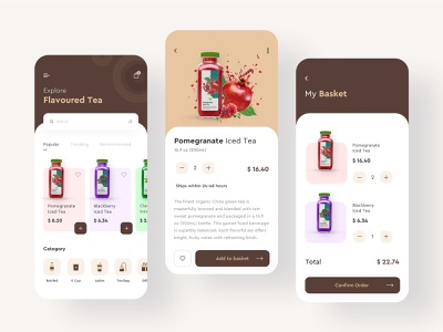 Flavoured Tea App clean typogaphy icon minimal tea drink card art ux mobile ios colors flat app design ui