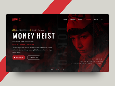Heist Landing Page tv show netflix heist product page website landing page icon web card art ux colors illustration flat app design ui