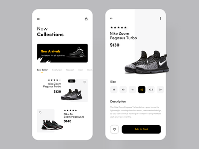 Nike Shoe App interface minimalist shoe app inspiration minimal product design cart nike shoe ecommerce typography icon mobile ios ux colors flat app design ui