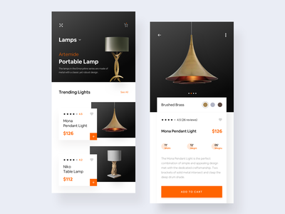 Lamp Ecommerce App clean clean ui minimalism minimal light lamp ecommerce web card art mobile ios ux colors flat app design ui