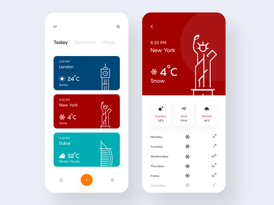 Weather App clean ui app designer application product design inspiration minimalisn weather art clean minimal icon mobile ios illustration ux colors flat app design ui