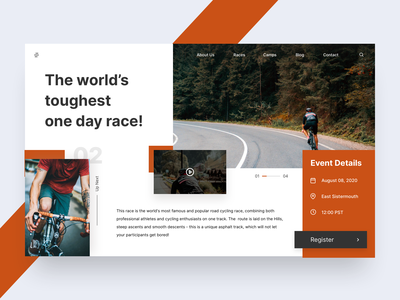 Cycling Landing Page homepage race event cycling minimal clean design typogaphy minimalism webdesign landing page web card art mobile ux colors flat app design ui
