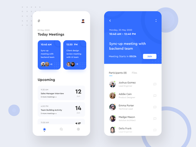Meeting App website web typogaphy schedule meeting branding clean minimal ios illustration mobile ux colors flat app design ui