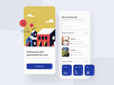 Rental Service App user interface user experience housing rental card typography clean minimal art illustration ios mobile ux colors flat app design ui