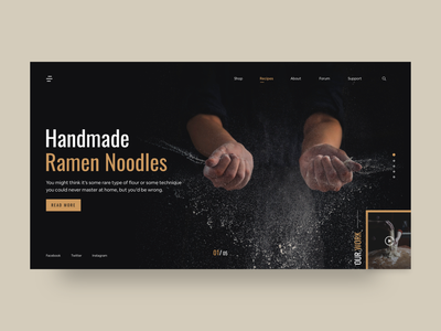 Cooking Recipe Landing Page illustraion asian chef recipe cooking typogaphy clean ui flat design webdesign landing page clean web minimal card art ux colors flat design ui
