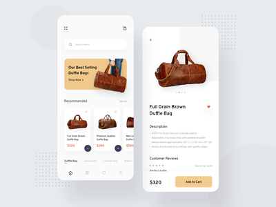 Bag Ecommerce App app design user experience product design ecommerce travel bag clean ui typogaphy minimal art illustration ios mobile ux colors flat app design ui
