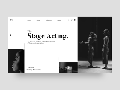 Acting School Landing Page movie theatre clean ui website website design typogaphy acting clean web art landing page minimal card ux colors flat design ui