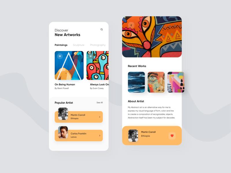 Artwork App uxui product design artwork clean ui typogaphy minimal card illustration art ios mobile ux colors app flat design ui