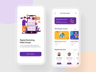 Digital Marketing Learning App user experience design digital course learn education e learning clean ui minimalism typogaphy card illustration minimal ios mobile ux colors app flat design ui