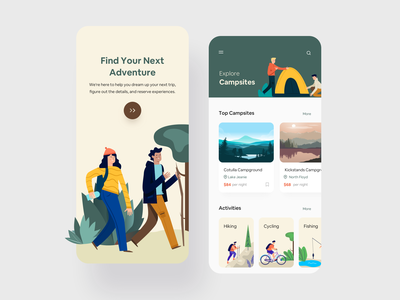 Camp Service App minimalist cards trekking camp clean ui user experience design product design typogaphy minimal art illustration ios mobile ux colors app flat design ui