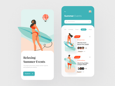 Summer Surfing Events App figma product design minimalism surfing beach summer typogaphy event app card minimal art ios illustration mobile ux colors app flat design ui