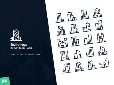 Buildings - 20 Set Icon Pack mobile app android ios ux ui app web design website building architecture
