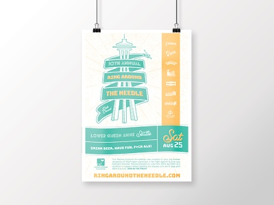 Ring Around the Needle 2018 Poster branding letterpress event hero creative poster lou gehrigs disease als ribbon seaplane space needle pub crawl seattle