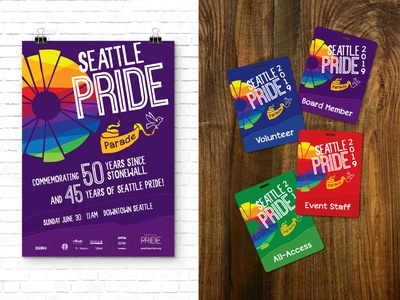 Seattle Pride 2019 Branding Package party parade colorful print brand package id badge banner bird intersectional seattle playful identity custom type design poster ad branding