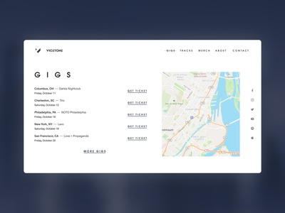 Gigs - Vicetone Website Redesign Concept