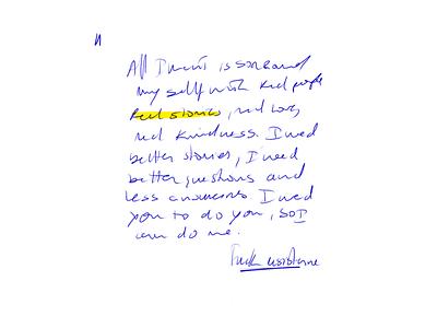 Unwritten Stories - Experiment blue and yellow handwritten