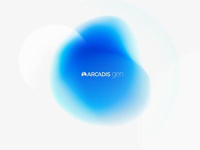 Arcadis Gen - Style Frame logotype logo design minimalistic white gradient soft logo