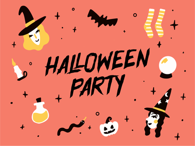 Halloween Party Illustration crystal ball candle potions pumpkin socks witch illustration card design halloween party halloween