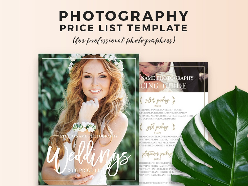 Price List Wedding Photography Marketing Template By Beart Presets