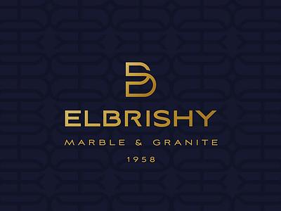 Elbrishy stylish elegant date gold dark blue blue logo granite marble