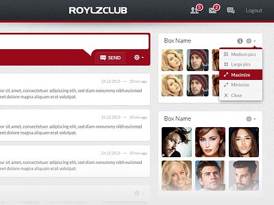 RoylzClub – Member Home home dating icon tabs header flat block box stream dropdown menu