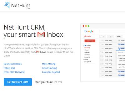Nethunt CRM flat light google button slider screens screen gmail product brand crm