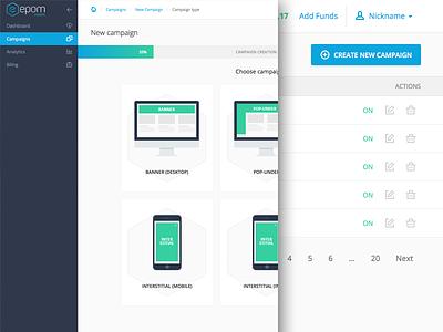 Epom Self-serve icons table tool control navigation button progress admin