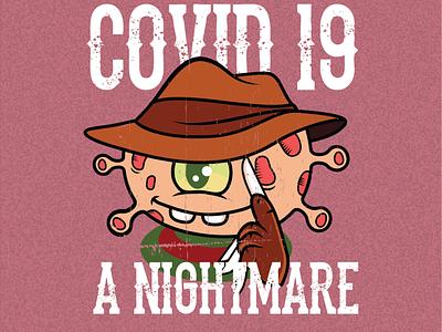 CORONA 02 nightmare freddy krueger covid19 logo design corona illustration