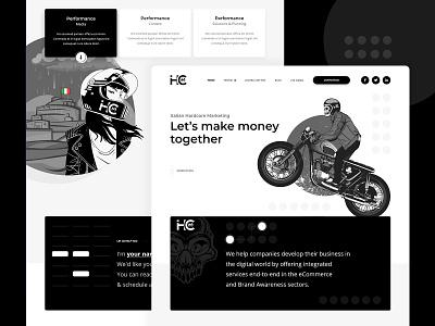 Marketing Landing Page Updated mockup design adobe xd vector branding illustration design  front-end  back-end website web design skull biker clean design design