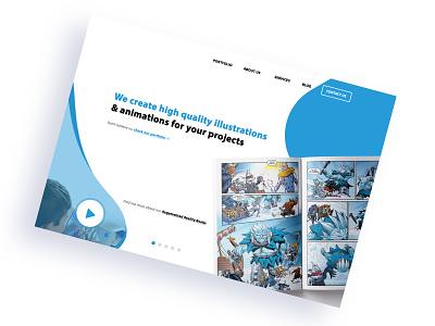 Hi-fi mockup for an illustrator studio website clean design comic book comic book art blue blue and white design design  front-end  back-end agency web design mockup design website concept