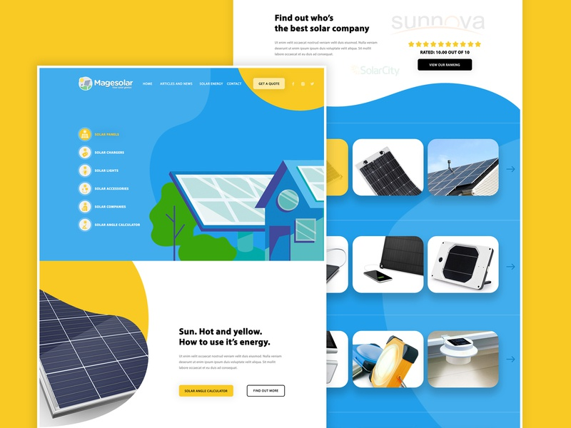 Magesolar redesign - Homepage homepage mockup design photoshop solar solar power clean power waves clean website illustration white yellow blue front-end homepage design website clean design web design design