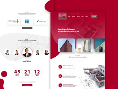 Construction company - Homepage Mockup front-end web development clean mockup company website construction company buildings red and white red mockup design design  front-end  back-end website web design clean design design